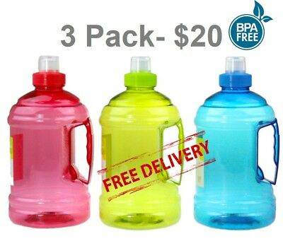 AU22.99 • Buy 3 Pack - 1 Litre 1l  Water Bottle Drink With Handle Bpa Free - Free Postage