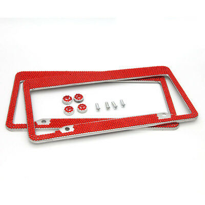 $26.95 • Buy Red Car Accessories Bling Luxury Rhinestone License Plate Frames For Women 2Pcs
