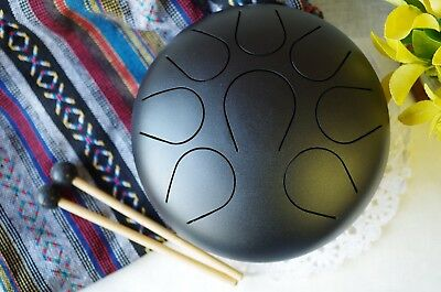 WuYou 9inch Steel Tongue Drum Hand Pan Drum, Hand Tuned Perfect Sound Healing • 74.85£