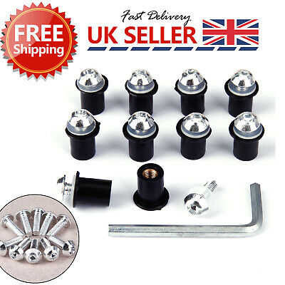 10X Rubber Well Nuts & Stainless Bolts Motorcycle Bike Screen Fairing M5 5mm • 6.97£