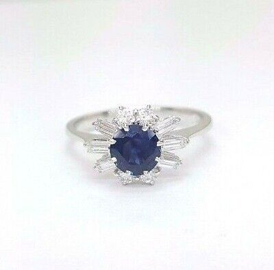 AU989 • Buy Ladies Ring 18ct (750, 18K) White Gold Natural Sapphire And 0.42pt Diamond Ring