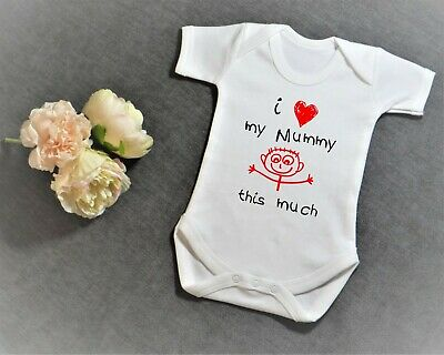 Short Sleeve Baby Grow Vest  I Love My... Mummy/Daddy This Much  Personalised • 2.50£