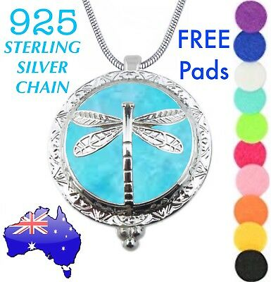 AU14.50 • Buy Dragonfly Aromatherapy Essential Oil Diffuser Locket 925 Sterling Chain Necklace