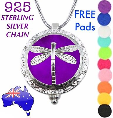 AU14.95 • Buy Dragonfly Aromatherapy Essential Oil Diffuser Locket 925 Sterling Chain Necklace