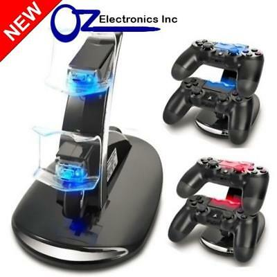 AU18 • Buy Dual PS4 Wireless & Wired Controller Charging Stand USB Cable BRAND NEW