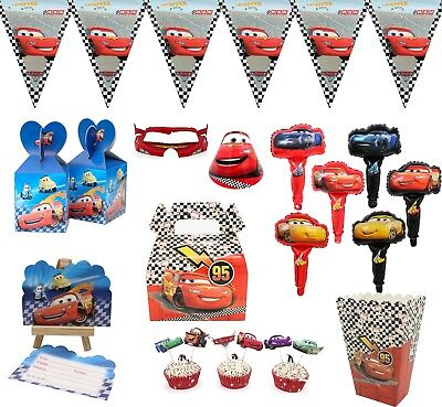 16 Style Disney Car Plate Flag Cup Party Tableware Birthday Decorations Supplies • 2.99£