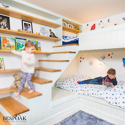 £3795 • Buy Bespoke Handmade Fitted Wooden Bunk Beds With Staircase, Shelves And Storage