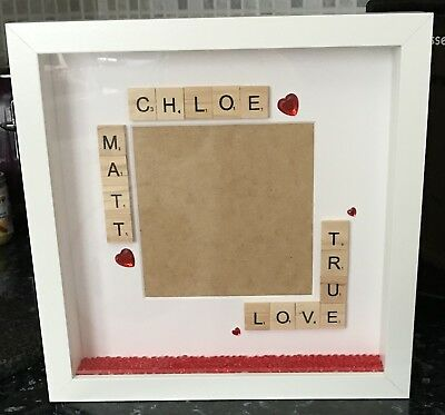 Handmade Personalised Name 3D Photo Frame Valentines Gift Girlfriend Boyfriend • 16£
