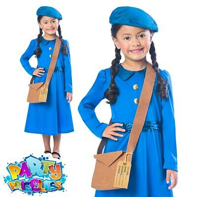 1940s Wartime School Girl Costume Kids Fancy Dress Book Day World War Outfit • 8.49£