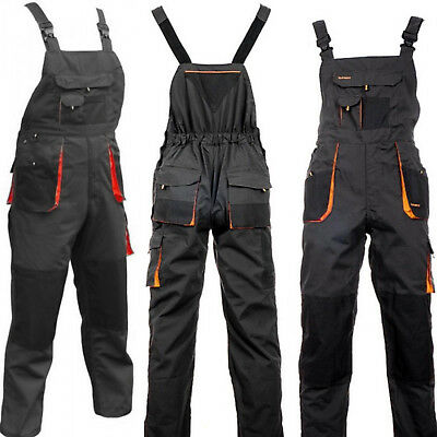 Mens Work Trousers Bib And Brace Overalls Knee Pad Pocket Dungarees MultiPocket. • 17.89£