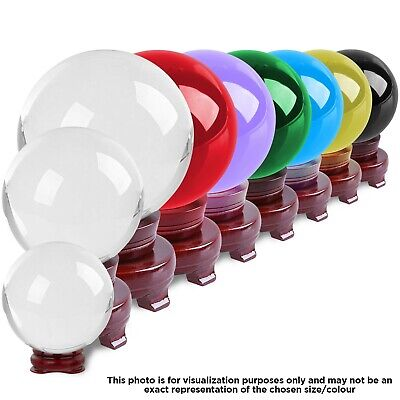 Crystal Ball Meditation Healing Orb Sphere Prism Ball 100mm With Wooden Stand • 15.49£