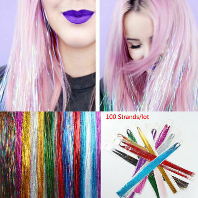 100 X Strands Holographic Sparkle Hair Glitter Party Tinsel Extensions Dazzles • 1.99£