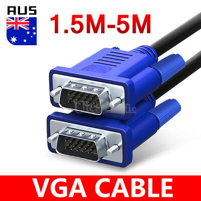 AU6.95 • Buy Premium VGA SVGA Male To Male Extension PC Monitor LCD Cable 15pin 1.5M 3M 5M