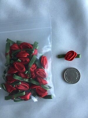 Small Red Satin Rosebuds For Crafting Or Dressmaking Pack Of 25 Free Postage • 3£