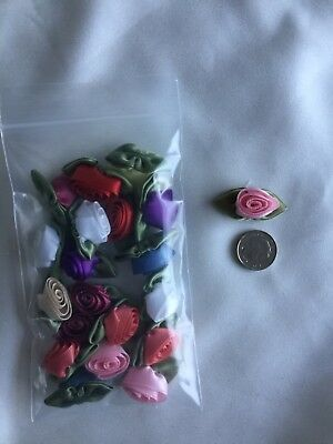 Large Assorted Satin Rosebuds For Crafting Or Dressmaking Pack Of 20 Free Post • 3.50£
