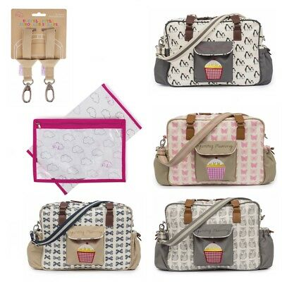 £9.99 • Buy Pink Lining Yummy Mummy Baby Changing Nappy Bag, Stroller Straps & Changing Mat
