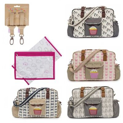 Pink Lining Yummy Mummy Baby Changing Nappy Bag, Stroller Straps & Changing Mat • 49.99£