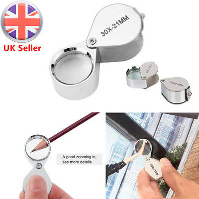 Mini 30X Magnifier Jeweller Jewelry Eye Glass 21mm Loop Lens Magnifying Loupe UK • 2.83£