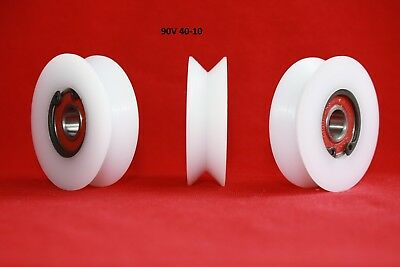 £11 • Buy 40mm Precision Nylon Pulley Wheel With 90° V Groove Guiding Rail Sliding Door