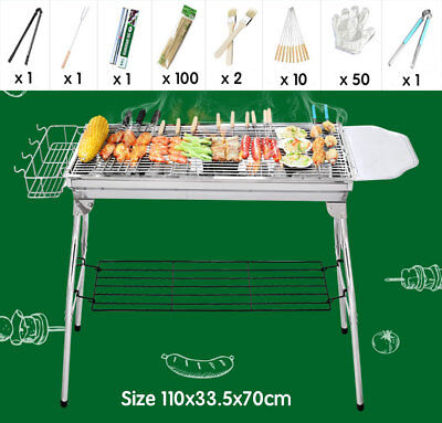 AU59.95 • Buy Portable Folding Stainless Steel Charcoal BBQ Grill Outdoor FREE BBQ Tool Pack