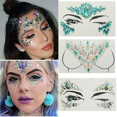 Body Adhesive Glitter Stickers Tattoo Face Gems Crystal Party Festival Jewelry • 4.79£