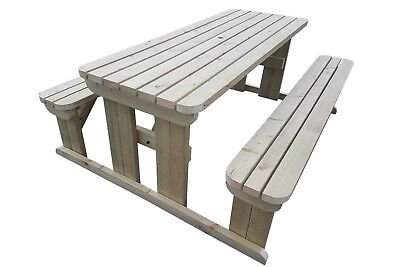 Hand Made ROUNDED Wooden Pub Garden Table, Picnic With Attached Benches • 199.29£