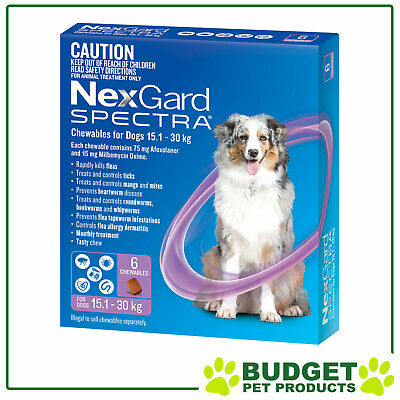 AU108.55 • Buy NexGard Spectra Chewables For Dogs Purple 15.1-30kg 6 Pack