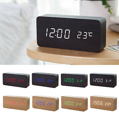 FP Wooden LED Digital Clock Alarm Clock Time Thermometer Calendar USB / AAA UK • 10.09£