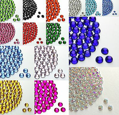HOTFIX IRON ON GLASS RHINESTONES SIZE 2,3,4,5,6MM VARIOUS COLOURS From 99p • 6.99£