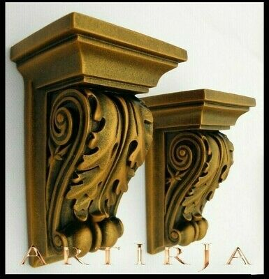 Pair Of Corbels,(2 IN TOTAL) ACANTHUS LEAF Scroll, Shelf, Rococo Style,gold • 29£