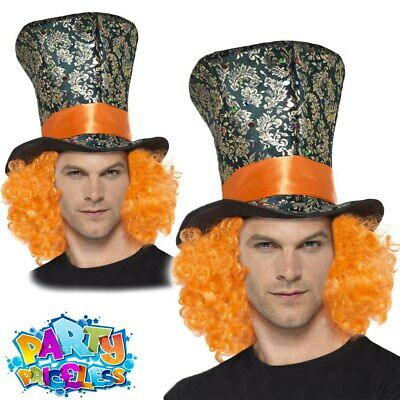£8.29 • Buy Adult Mad Hatter Top Hat With Hair Alice Book Week Day Fancy Dress Accessory New