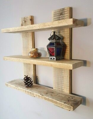 £37 • Buy Shelf Display Unit Wall Mounted Floating Rustic Reclaimed Shabby Chic 12 Colours