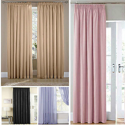 £14.50 • Buy Voile Lined Pencil Pleat Curtains (Pair Of) - Choice Of Colours & Sizes