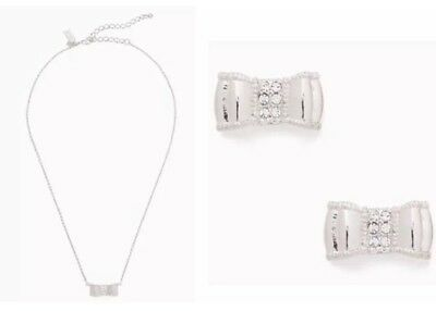 $ CDN80.42 • Buy Kate Spade Moon River Pave Silver Boxed Set Stud & Pendant Duo Necklace Earrings