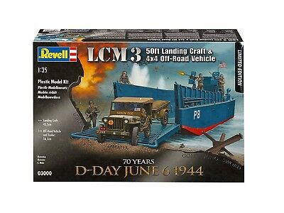03000 Revell 1:35 LCM Landing Craft And Jeep With Trailer Vehicle Model Kit • 55£
