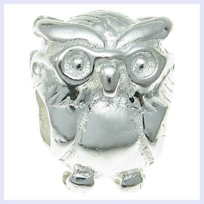 S4447 Sterling Silver Crystal CZ Graduation Owl Bead for European Charm Bracelet