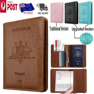 AU8.98 • Buy PU Leather RFID Blocking Passport Travel Wallet Holder ID Cards Cover Case