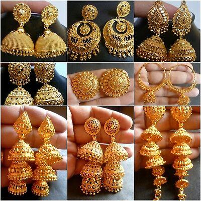 AU12.99 • Buy 22K Gold Plated Indian Variation Different Earrings Jhumka Party Wedding Design