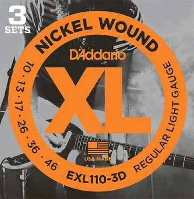 $ CDN17.85 • Buy 3 Pack D'Addario EXL110 Electric Guitar Strings 10-46 Light EXL110-3D Sets