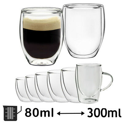 Double Walled Thermal Shot Glass Coffee Latte Espresso Tea Cups Tumbler Glasses • 18.99£
