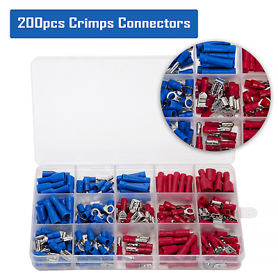 200Pcs Assorted Electronic Spade Crimp Wire Connector Insulating Wiring Kit • 8.99£