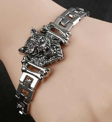 Stainless Steel Silver Wolf Head Chain Link Bracelet Viking Norse Wolves F4 Uk   • 6.95£