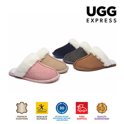 AU40 • Buy UGG Thin Rubber Sole Unisex Slippers/Scuffs , Sheepskin Wool Lining&Suede Upper