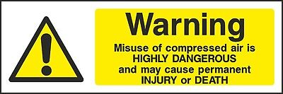 Compressed Air Sign [V6WCHE0017] Workplace Business Warning Public Health Safety • 1.87£