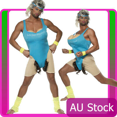 AU51.29 • Buy Mens 80s Funny Lets Get Physical Gym Work Out Costume Humour Party Fancy Dress