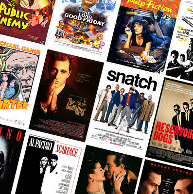 CLASSIC VINTAGE GANGSTER MOVIE POSTERS - A4 A3 A2 - GoodFellas, Scarface, Heat • 10.99£