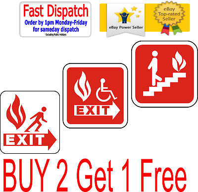 Fire Exit Sign Sticker Emergency Escape Fire Drill Safety Stairs Disable • 2.95£
