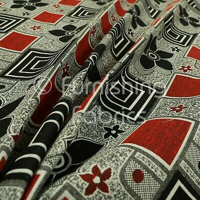 Modern Upholstery Furnishing Pattern Fabric Floral Patchwork In Red Black Grey • 8.99£