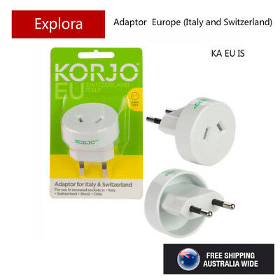 AU17.50 • Buy Korjo Travel Adaptor From Australia/NZ To Europe Italy, Switzerland - 2 Pin