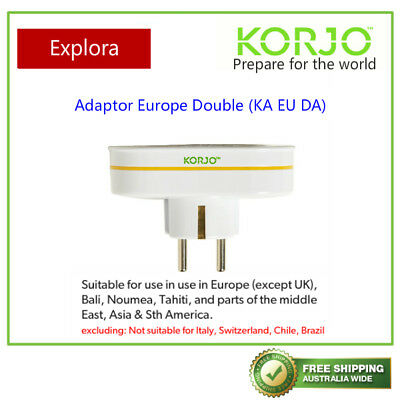 AU24.45 • Buy Korjo Travel Double Adaptor From Australia/NZ To Europe (Except UK)